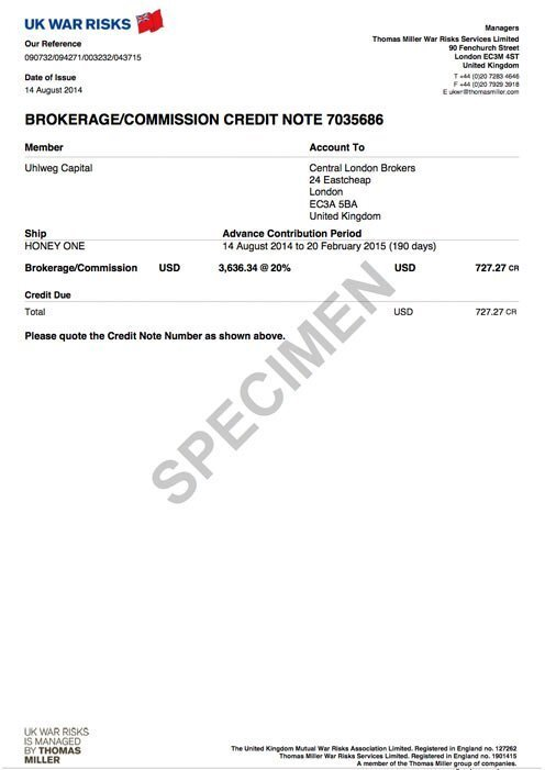 Brokerage/commission credit note